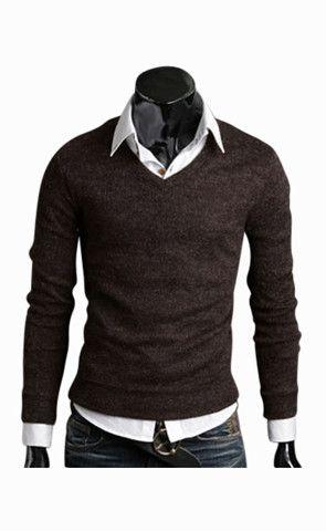 Man Slim Fit Brown V-Neck Sweater