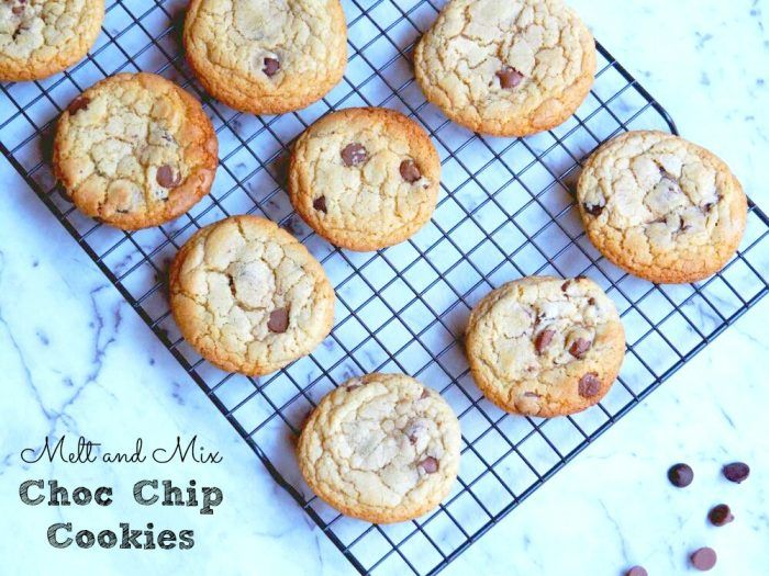 melt and mix choc chip cookies