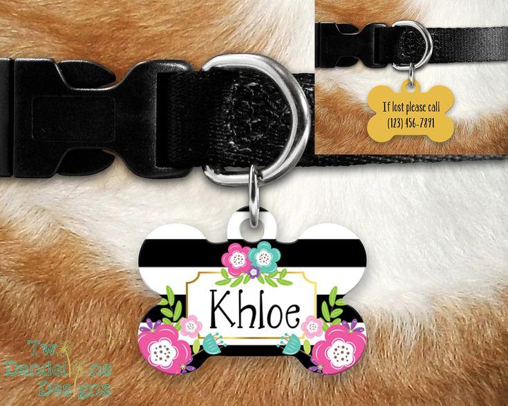 Black White Floral Pet Tag Dog Tag, CHOOSE COLOR. 2 sided pet tag, personalized pet tag, aluminum pet tag, bone shape tag, custom pet tag. by TwoDandelionsDesigns on Etsy