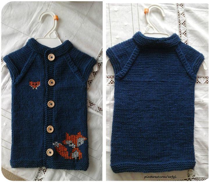 boy knit vest Junge kinderweste stricken Детская безрукавка  жилет спицами fuchs sticken вышивка на вязаном  для мальчика Синяя