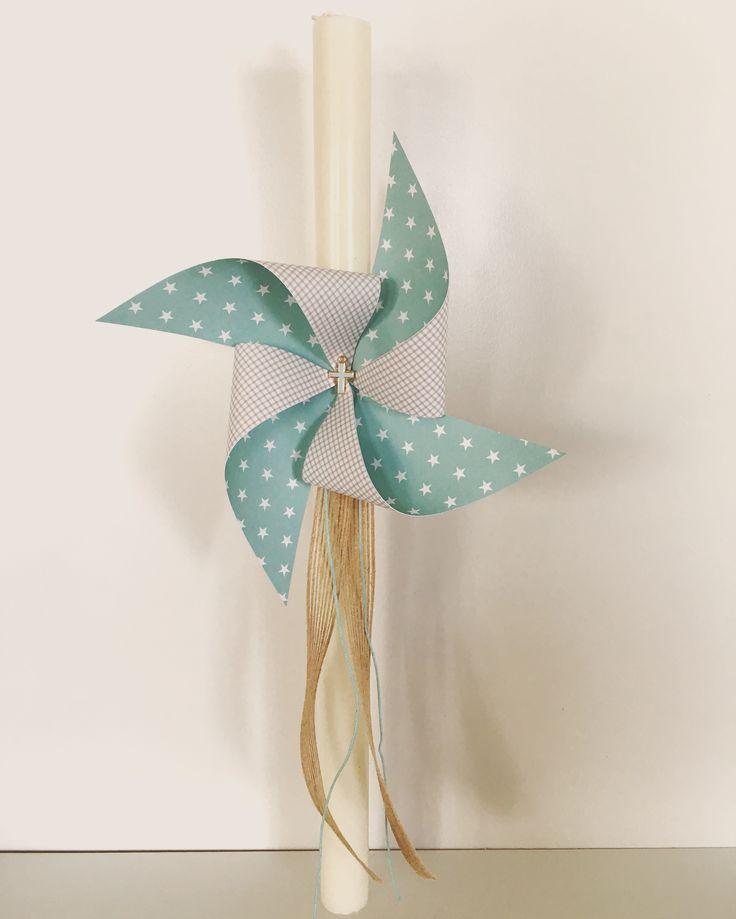 Palm Sunday candle with pinwheel