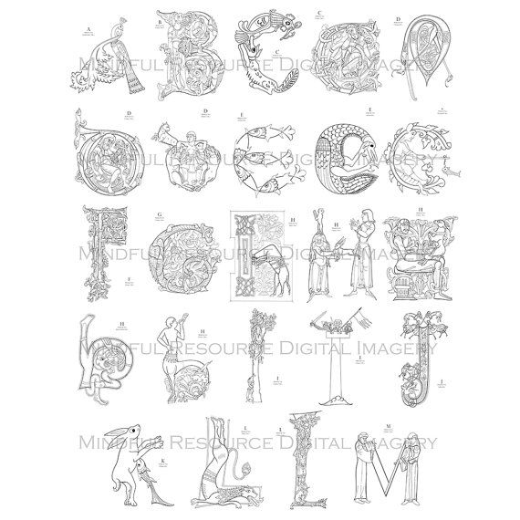 Printable Coloring Pages Medieval Alphabet A-M by mindfulresource