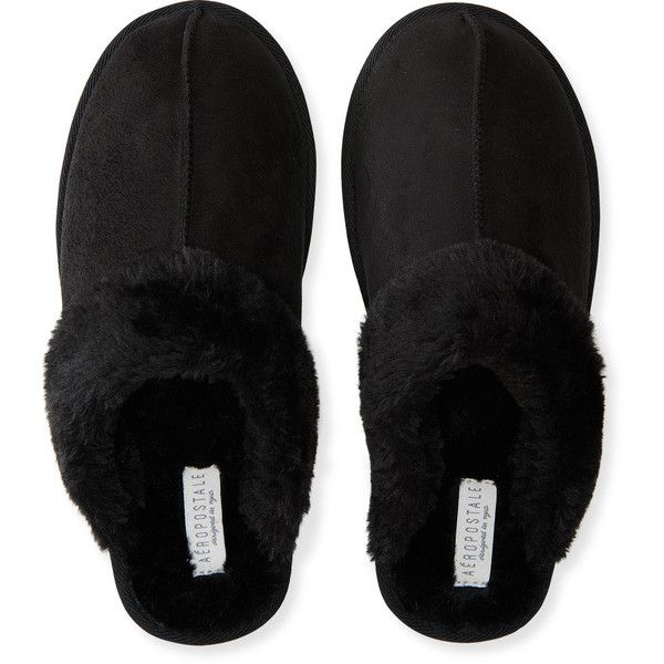 Aeropostale Faux Fur Slippers (163.705 IDR) ❤ liked on Polyvore featuring shoes, slippers and black