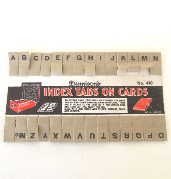 Printing On Index Cards: Ledger Book / Index Card File Tabs Dennison Alphabet