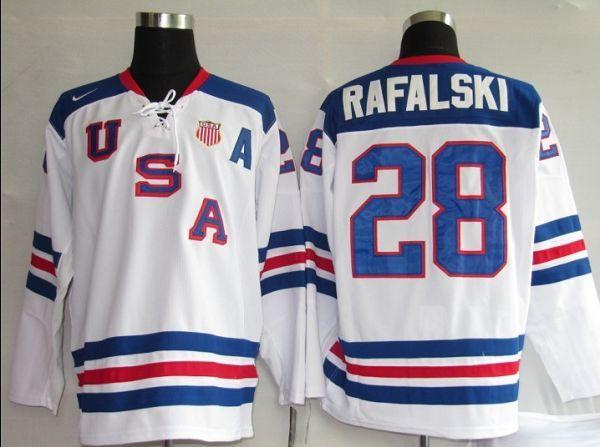2010 Olympic Team USA #28 Brian Rafalski Stitched White 1960 Throwback NHL Jersey : $30.50
