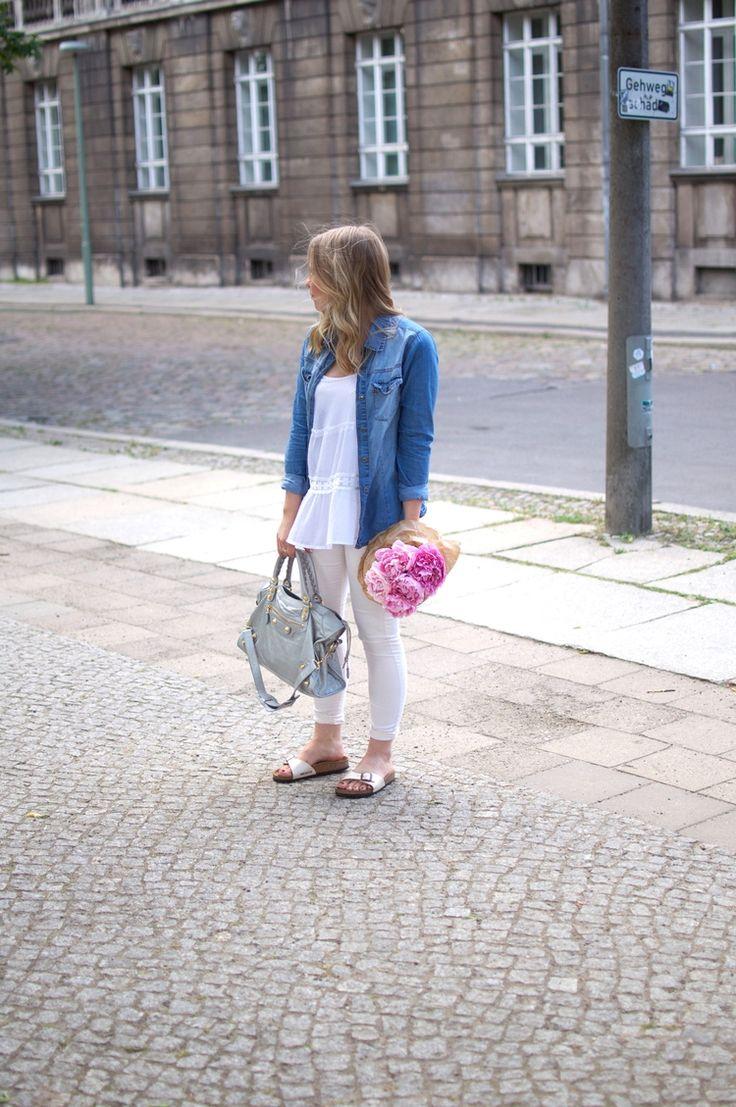 White Outfit   Denim Shirt   Birkenstock Madrid   Silver Balenciaga Vintage Bag   Pink Peonies