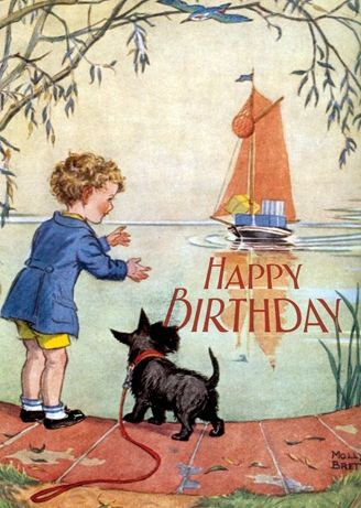 Happy Birthday Card A Boy And His Scottish Terrier Scotty Dog