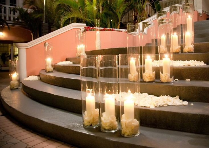 Candles rose petals tall vase wedding ceremony decor for Cheap wedding decorations in bulk