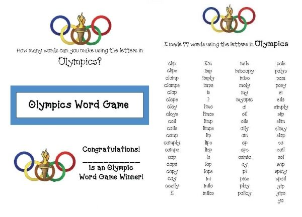 make words with these letters how many words can you make using the letters in olympics 23561 | e5dbb001f176fea5b875e1f7e98b8e19 fun activities recording sheets