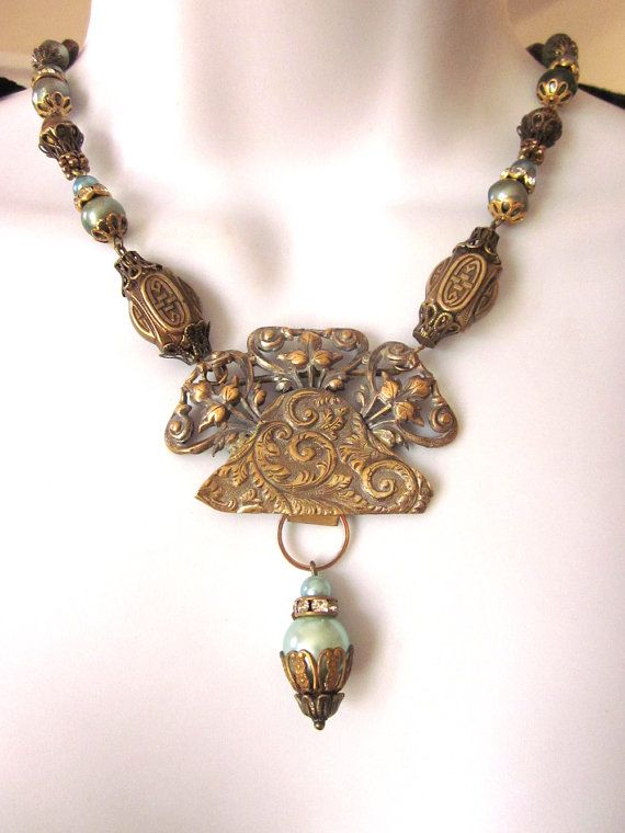 Repurposed assemblage necklace with pearls art by for Repurposed vintage jewelry designers