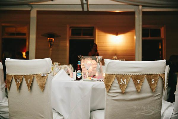 mr and mrs chair bunting wedding reception decorations