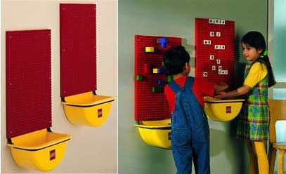 Lego Wall with attached storage bin