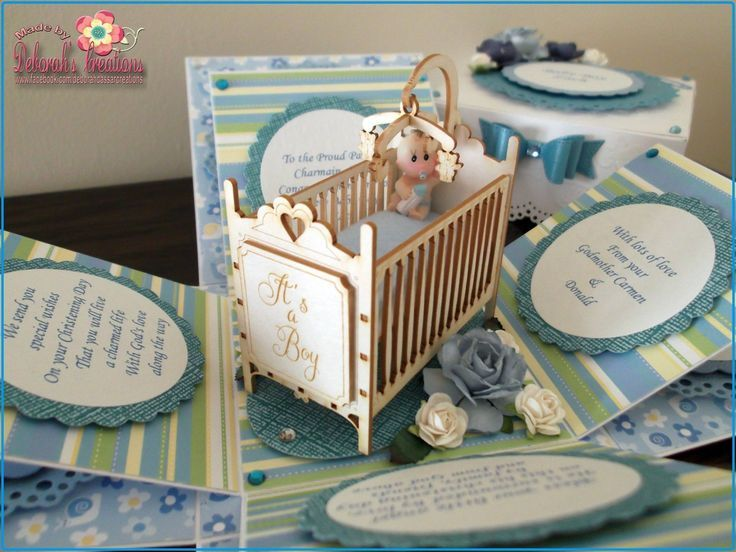 Baby Boy with Cot Exploding Box Card pinned with Pinvolve - pinvolve.co