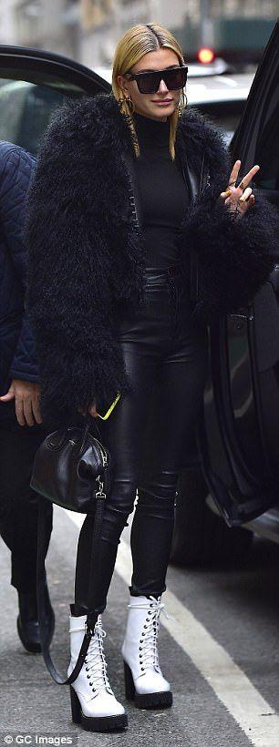 Hailey Baldwin turns heads in edgy black fur coat
