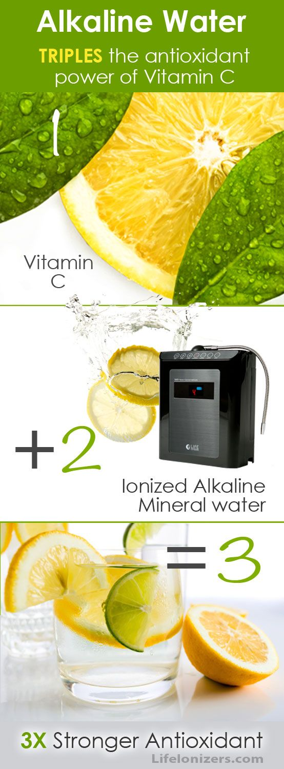 Alkaline Water Triples the Antioxidant Benefit of Vitamin C! Alkaline water made by a water ionizer has something that plain water doesn't – antioxidant potential. When combined, alkaline water and vitamin C together form calcium ascorbate – an antioxidant that is three times more powerful than Vitamin C  alone.