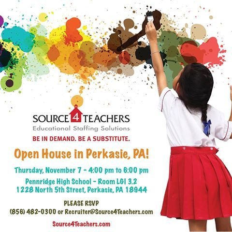 Perkasie! Come to #Source4Teachers open house! We'll be at Pennridge High School from 4-6PM on 11/7 looking for Subs!