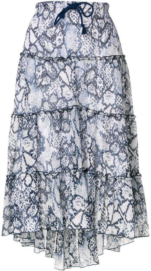 See By Chloé tiered snake print midi skirt