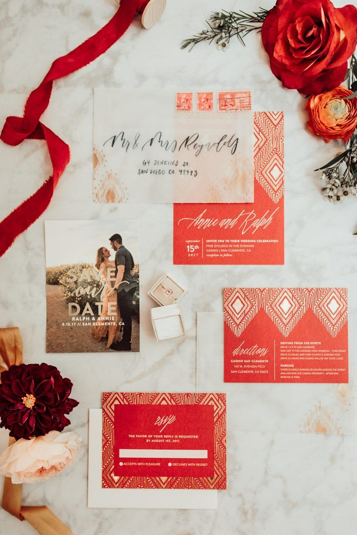 funny wedding invitation mail%0A Bohemian Luxe California Wedding at Casino San Clemente