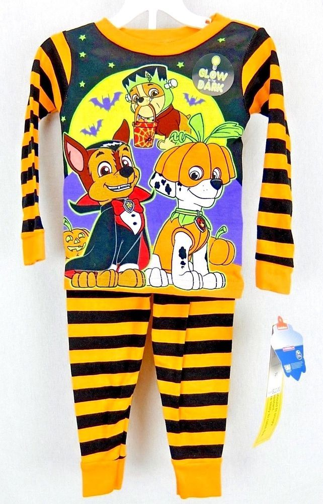 f441956f87b3 Nickelodeon Paw Patrol Glow in the Dark Halloween Pajamas Boys Size ...