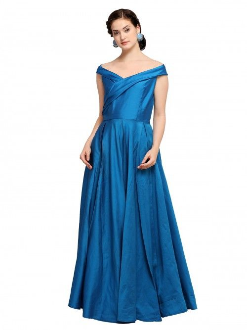 882dccac92ab Blue Taffeta Silk Gown in 2019 | Outfit inspiration | Silk gown ...