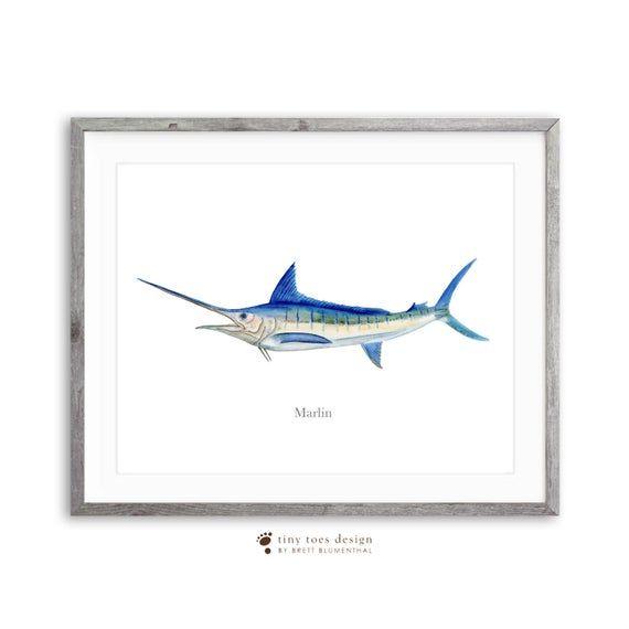 Blue Marlin Watercolor Billfish Wall Art Marlin Art Print Fish