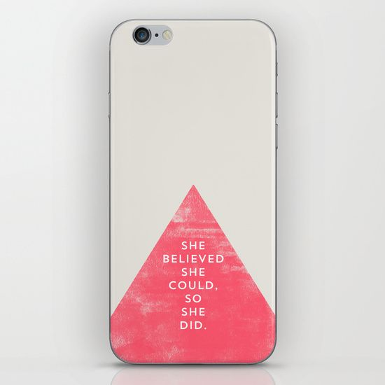 SHE BELIEVED SHE COULD SO SHE DID - TRIANGLE iPhone & iPod Skin