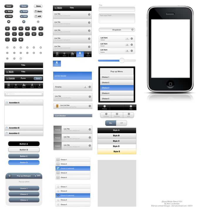 Preview for jQuery Mobile UI Elements OmniGraffle Stencil