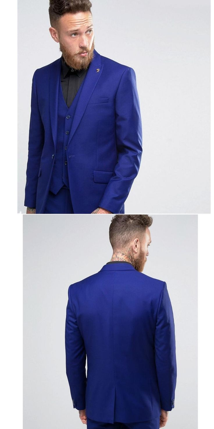 NoEnName_Null Fashion men's suits Custom Made men suit Royal Blue Wedding Prom Suits For Men Best Man Groomsman Tuxedos 3 Pie