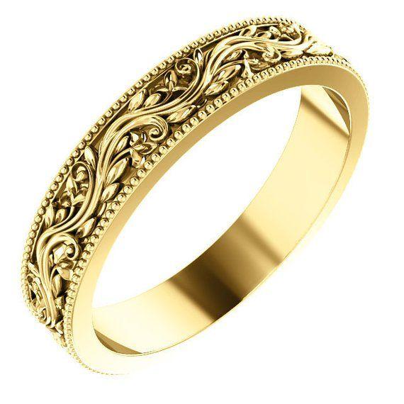 Available In 14k Yellow 14k Rose And 14k White Gold Weight 5 Grams Depending On Finger Size Anillos De Boda Para Hombre Anillos De Boda Anillo Victoriano
