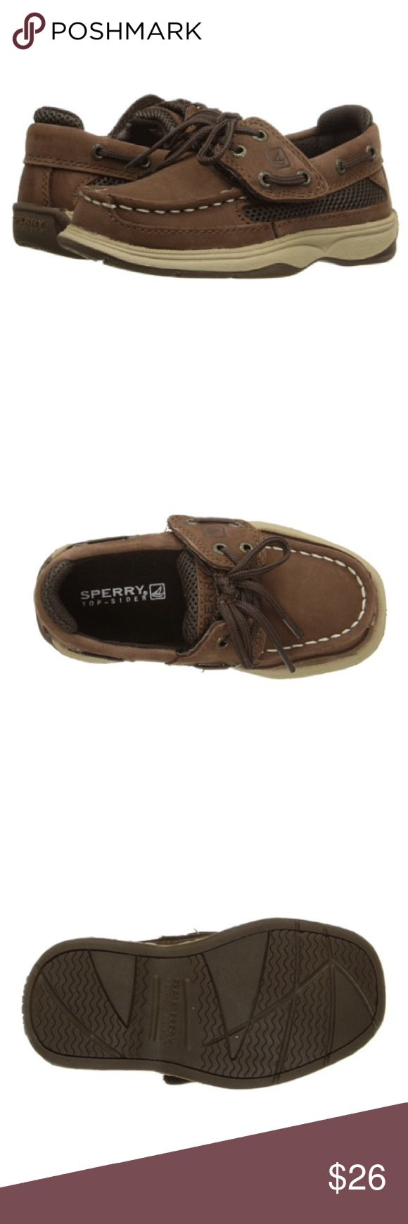 Boys Sperry Top-Sider Lanyard Boat Shoes Durable leather in cigar brown with vented mesh side panels. Molded foot bed with heel cup for support. This will have delayed shipping of 2-3 days of ordered now. I will have original photos posted soon and I can tag anyone interested when they are put up. Sperry Top-Sider Shoes