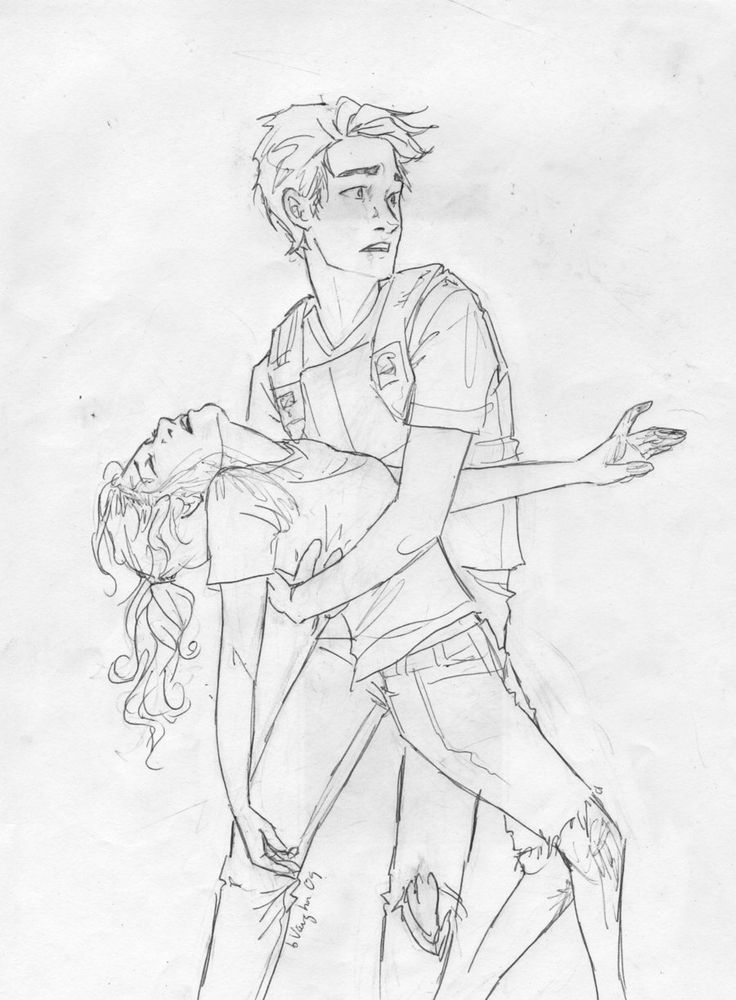Burges drawing of the scene in The last Olympian where Annabeth takes a knife for Percy