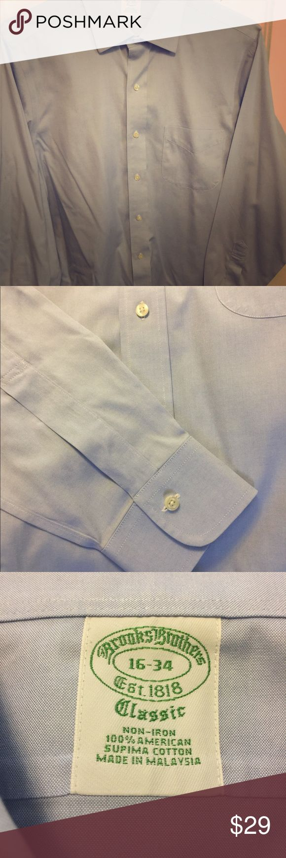 Brooks Brothers Milano Fit Non-Iron Dress Shirt Light Blue Brooks Brothers Milano (extra slim) Fit Non-Iron Dress Shirt 16-34 100% supima cotton, Great condition Brooks Brothers Shirts Dress Shirts