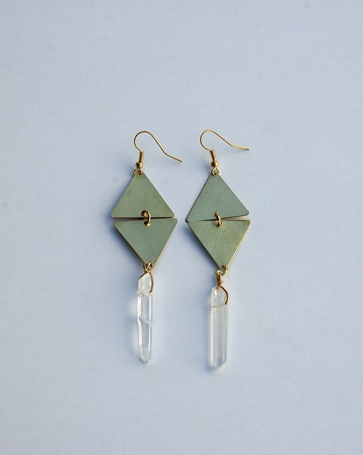 Brass Triangle Geometrical Earings and Quartz Crystals https://www.etsy.com/listing/189919867/brass-triangle-geometrical-earings-and?ref=listing-9