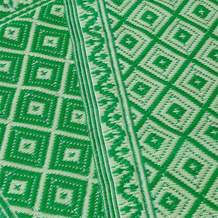 Plastic outdoor vloerkleed loper groen - 240 x 75 cm, €19.95