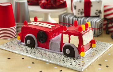 Fire Engine Cake: Create four-alarm excitement with a fire engine cake!