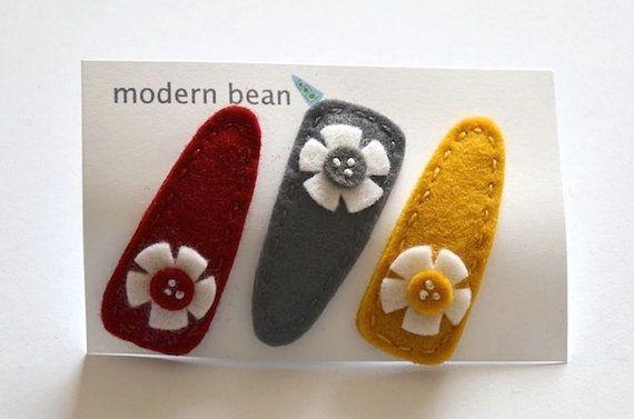 Modern Bean Hair Clip  Set of 3 Hair Clips  Cosmos di modernbean