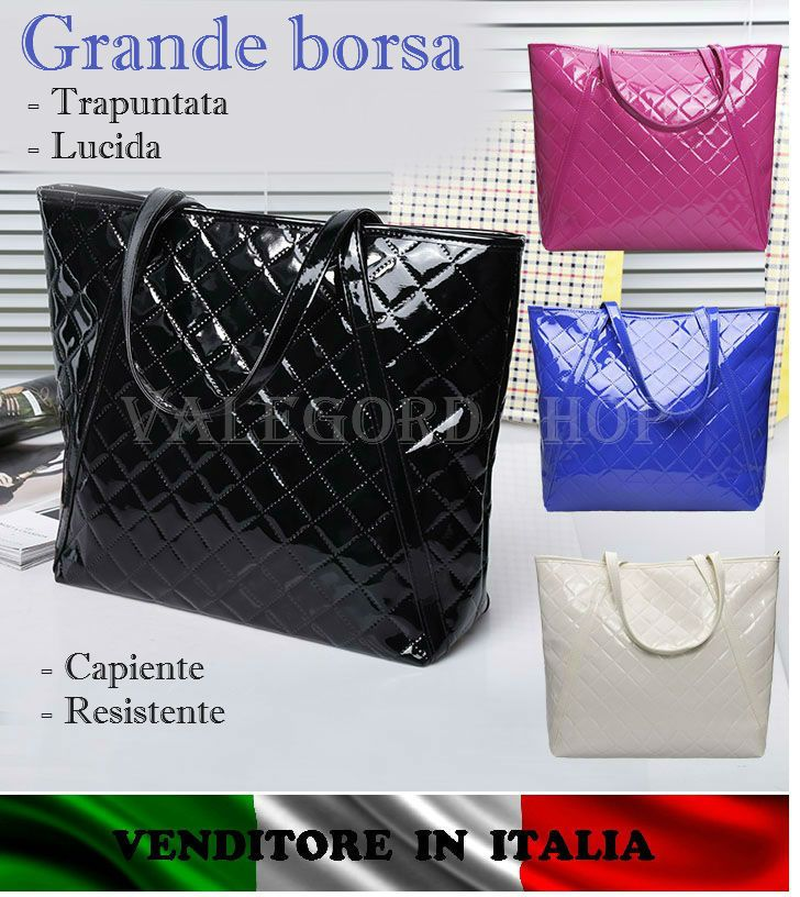 Borsa grande TRAPUNTATA SHOPPING LUCIDA NERO BLU ROSA AVORIO moda bag sac 24 ORE