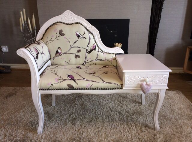 Shabby chic telephones seat. I painted this using Laura Ashley eggshell paint in pale amethyst & the fabric I purchased off eBay