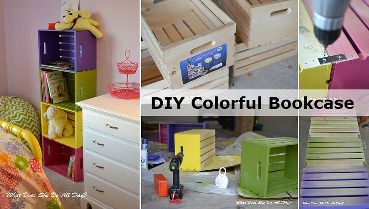 Diyncraftz Diy Colorful Bookcase Follow Us On Tumblr Bookcase Diy Crate Furniture Crate Bookcase