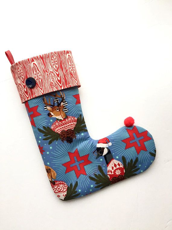 Christmas stocking. Hipster Christmas. Hipster style.