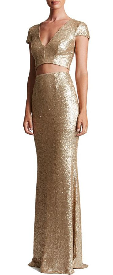cara sequin two-piece gown by Dress the Population. A dense covering of satin-finish sequins flaunts and flatters curves in this two-piece mermaid gown bound to turn hea...