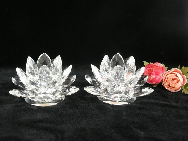 Pair of Shannon Crystal Candle Holders / Lotus Flower Water Lily Design of Ireland / By Godinger NEW Old Stock in Box / Plus 2 Taper Candles