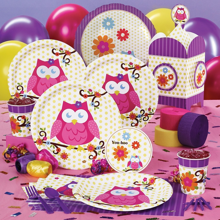 Owl party supplies.  This would b soo fun for a night owl party theme with a sleep over and lots of girls!!