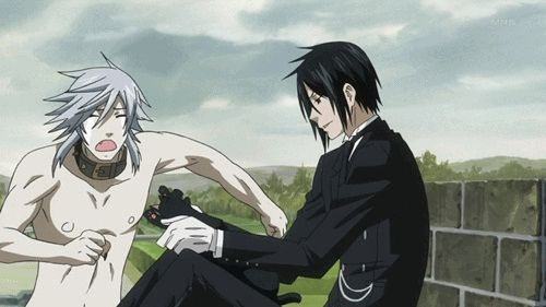 Black Butler ~~ Pluto REALLY doesn't like Cats - But he likes Sebastian ! XD ( p.s. Pluto, you might not want to do that ~ just saying, Sebastian has a SERIOUS Cat Fetish )