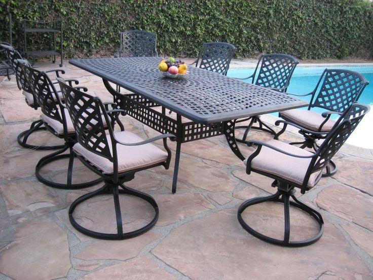Outdoor Cast Aluminum Patio 9 Peice Dining Set ML8444TR With 8 Swivel  Rockers Part 78