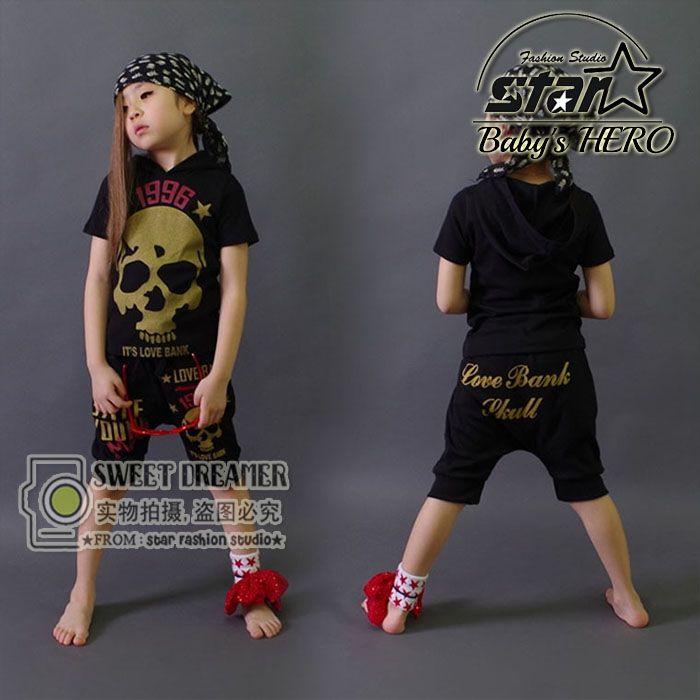 $30.00 (Buy here: https://alitems.com/g/1e8d114494ebda23ff8b16525dc3e8/?i=5&ulp=https%3A%2F%2Fwww.aliexpress.com%2Fitem%2FHip-Pop-Style-2016-Summer-Children-Cool-Girls-Cotton-Clothes-Set-Kids-Fashion-Skull-Street-Dancing%2F32712056863.html ) Hip-Pop Style 2016 Summer Children Cool Girls Cotton Clothes Set Kids Fashion Skull Street Dancing Clothing Boys Girls Costumes  for just $30.00