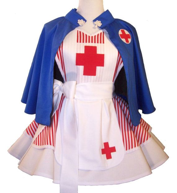 Nurse Apron and Cape Nurse Costume Apron Ready by WellLaDiDaAprons