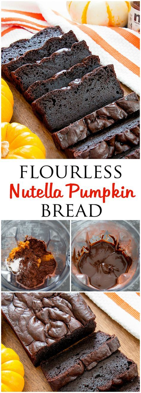 Flourless Nutella Pumpkin Bread. An easy blender recipe for a moist, gluten free quick cake bread.
