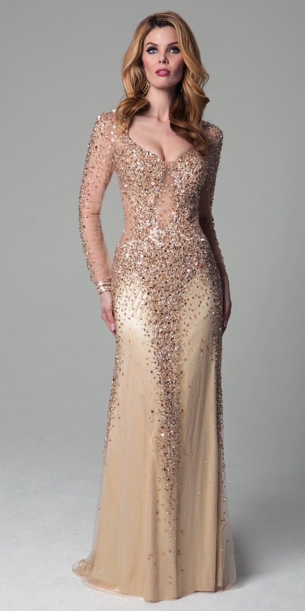 Sexy Gold Illusion Dress 32782. Colors: Gold. Size: 4-12