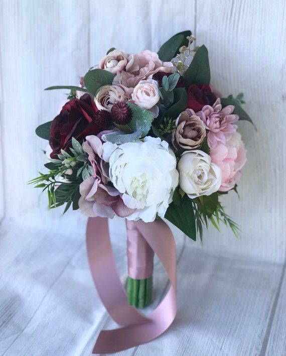 Dusty Rose Bouquet, erröten und Dusty Pink Bouquet, lila und Burgunder Bouquet, Hochzeitsstrauß, erröten und Burgunder Bouquet, Boho Bouquet   – Brautsträuße